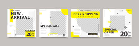 Clean and simple social media template design with white background color and a few yellow color blocks, suitable for brand building or promotion