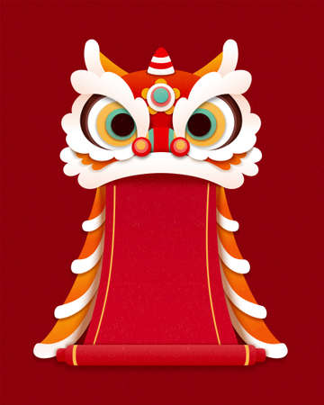 Lovely papercut lion dance design element with blank red scroll