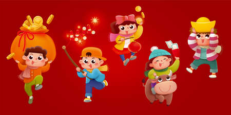 CNY cute kids playing together isolated on red banner