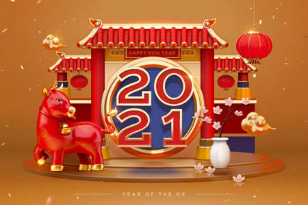 Luxury greeting card for 2021 Chinese new year. 3d Chinese temple gate podium decorated with cute ox.