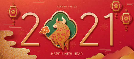 2021 classic year of the ox banner with golden glitter effect, paper art style