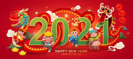 Dragon and lion dances with kids, CNY cartoon banner design