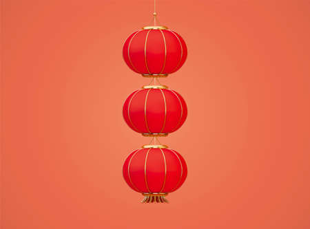 3d hanging red lanterns. Festival elements isolated on white background. Suitable for Chinese or Japanese culture decoration.