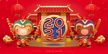 2021 Chinese new year celebration banner in 3d illustration. Cute bulls wearing traditional door god armors with Chinese roof podium.