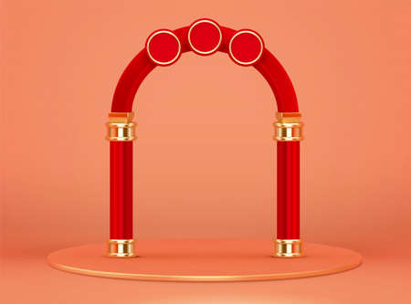 3d red arch with round base isolated on orange background. Suitable for Chinese new year event promo.