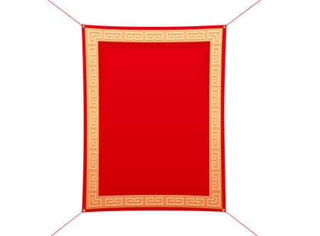 3d hanging fabric banner with gold pattern borders, element isolated on white background. Suitable for Chinese or Japanese culture decoration.