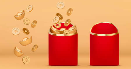 3d Chinese new year money elements, including gold coins, gold ingots and red envelopes. CNY objects isolated on yellow background. Ilustracja