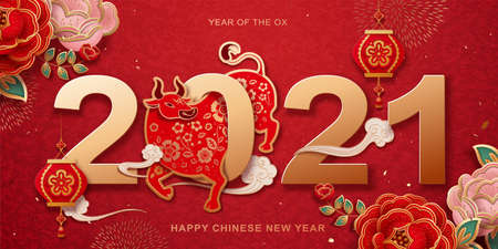 2021 paperart style year of the ox banner design with peony flower decoration Ilustracja