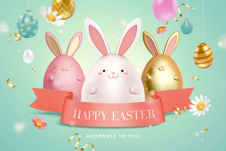 3d creative Easter egg background with cute rabbit toys and pink ribbon. 向量圖像