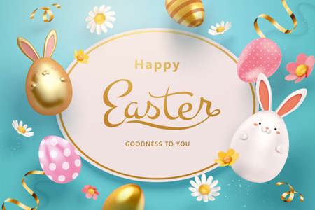 3d Easter egg greeting card template. Top view of holiday objects including painted eggs, rabbit toys and flowers.