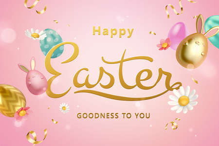 3d creative Easter egg background. Elegant gold calligraphy with painted egg ornaments and rabbit toys.
