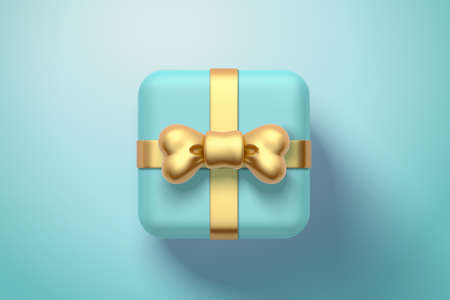 Top view of gift box or present box with gold ribbon bow. 3d element isolated on blue background, suitable for birthday or anniversary events. 向量圖像