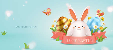 3d Easter egg hunt background. Cute white rabbit hiding behind a pink ribbon with grass and painted eggs.