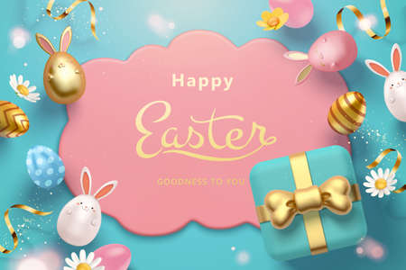 3d Easter egg greeting card template. Top view of holiday objects including painted eggs, rabbit toys and gifts.