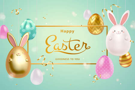 Happy Easter background in 3d design. Abstract golden frame with hanging egg ornaments and rabbit toys. 向量圖像