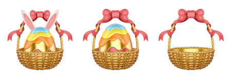 3d luxury Easter egg basket collection. Holiday elements isolated on white background.