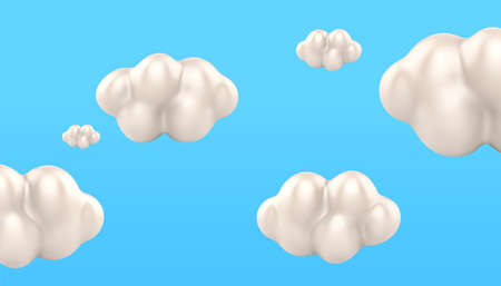 3d white cloud wallpaper background. Natural sky elements isolated on blue background. 向量圖像