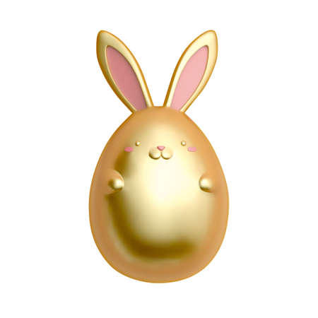3d golden rabbit isolated on white background. Animal elements suitable for Easter decoration.