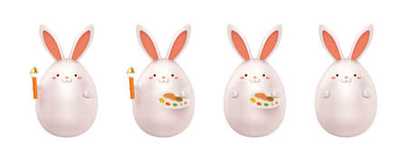 3d rabbits holding paint palette or paintbrush. Animal elements isolated on white background. Suitable for Easter decoration and art theme. 向量圖像