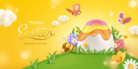 3d creative Easter background with cute painted eggs hidden in tall grass. Concept of playing Easter egg hunt in outdoor garden. 向量圖像