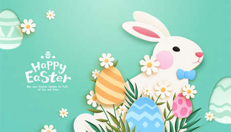 Happy Easter bunny background in paper cut design. Cute rabbit decorated with leaves, flowers and painted egg ornaments. 向量圖像