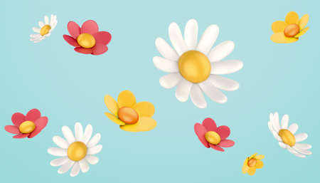 3d colorful daisy flower collection. Nature elements isolated on blue background.