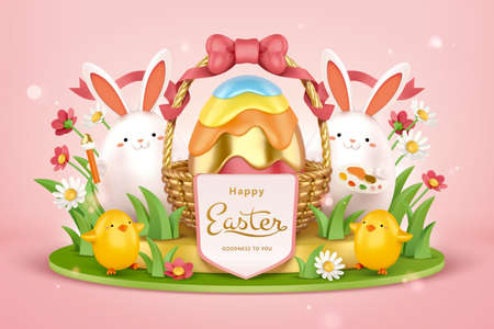 3d Easter egg hunt background. Cute rabbits with painting tools standing beside a huge Easter egg basket.