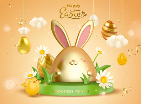 3d creative Easter egg background. Cute rabbit toys on grass podium with daisies and hanging egg ornaments.