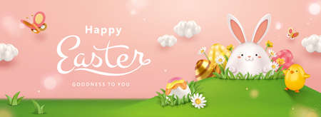 3d creative Easter egg hunt banner. Cute Easter eggs hidden in the grass. Concept of holiday activity for kids. 向量圖像