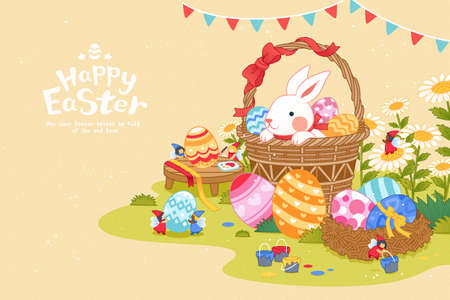 Happy Easter bunny background. Cute rabbit hiding in a basket and mini fairies painting eggs in beautiful garden.