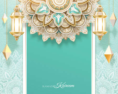 3d Islamic holiday celebration background design with luxury geometric patterns. Greeting card template suitable for Ramadan, Eid al-Fitr or Hari Raya.