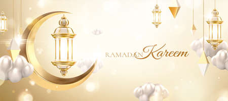 3d Islamic holiday celebration banner with metallic lanterns cloud and crescent moon decoration. Suitable for Ramadan, Eid al-Fitr or Hari Raya. 版權商用圖片