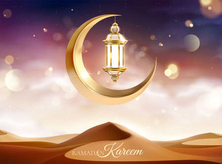 Beautiful desert sunset scenery with metal moon and lantern decoration. 3d Islamic holiday celebration background suitable for Ramadan, Eid al-Fitr or Hari Raya.