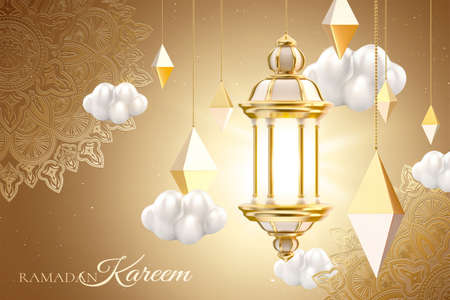Islamic lantern and cloud set on floral pattern background. 3d Muslim holiday card template suitable for Ramadan, Eid al-Fitr or Hari Raya. 版權商用圖片