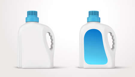 3d illustration of a plastic bottle set with handle and screw cap. Floor cleaner or liquid detergent package template isolated on white background.