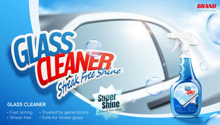 Streak free shine glass cleaner ad banner. 3D illustration of a realistic car in background with cleaner spray bottle package and bubbles flying in the air