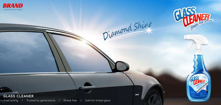 Glass cleaner ad banner. 3D illustration of a realistic car outdoors on a bright sunny day with cleaner spray bottle package