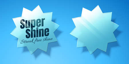 Star shaped glass design elements on blue background in 3d Illustration, super shine slogan for cleaning product