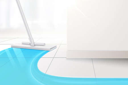 3d illustration of a realistic mop cleaning floor making a blue color on cleaned surface. Mop wiping white tiled floor indoors.