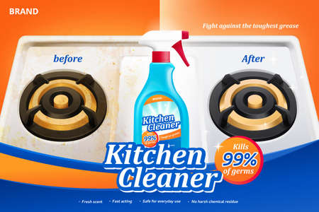 Ad template for kitchen cleaner, with before and after cleaning effect on gas stove, 3d illustration 向量圖像
