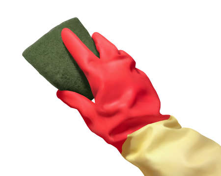 3d illustration of realistic rubber hand glove using sponge to do cleaning isolated on white background