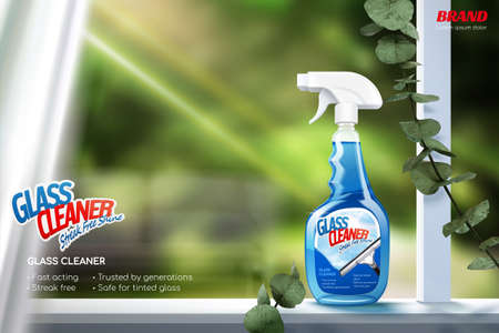 Glass cleaner promotion banner. Realistic window sill with bright sunlight and spray bottle.
