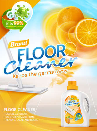 Floor cleaner ads, orange scent liquid with fruit twister elements, and mop cleaning floor in 3d illustration 向量圖像