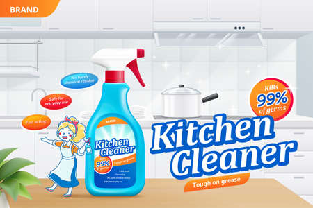 Kitchen cleaner spray ad template, realistic spray bottle with cartoon woman on table, 3d illustration. Surface cleaner bottle in home kitchen.