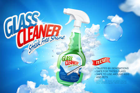 Glass cleaner ad banner in 3D illustration. Spray bottle package in foam and bubble against blue sky background