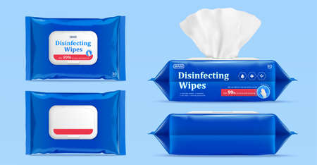3d mock up for wet wipes pouch or pack. Product ad element isolated on blue background. 向量圖像