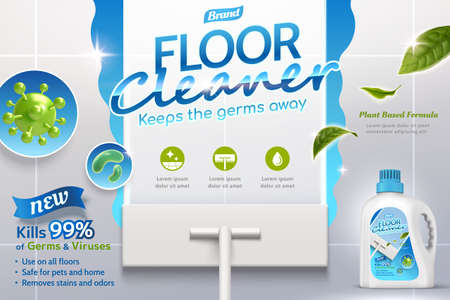 3d illustration of a realistic mop cleaning dirty floor to shine using disinfectant cleaner with germs in closeup and leaves flying. Advertisement poster layout of a floor cleaner with package design.