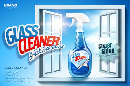 Glass cleaner ad banner in 3D illustration. Spray bottle package in window sill on blue background
