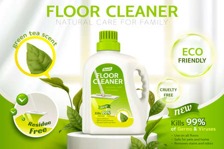 Floor cleaner ads, product package design on a stage with several efficacies and green leaves in 3d illustration