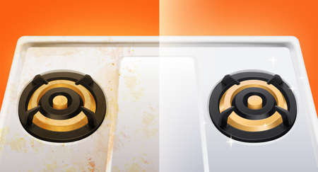 Dirty and clean gas stove, Before and after of a cleaned gas stove in 3d illustration, design element of ad banner.